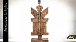 Pied de lampe sculpté en manguier massif 55 cm