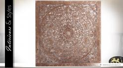 Panneau mural sculpté à motifs orientaux effet bois ancien 100 x 100 cm