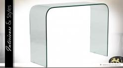 Console design transparente en verre trempé