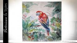 Tableau sur toile : perroquet dans la jungle100 x 100 cm
