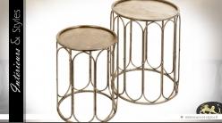 Duo de bouts de canapé ronds de style oriental en métal doré