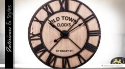 Horloge géante en bois et métal style fer forgé noir Ø 91 cm