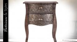 Table de chevet bois et métal  style marocain 2 tiroirs