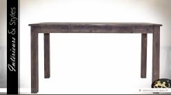 Table de salle à manger rustique aspect bois noirci et vieilli 140 cm