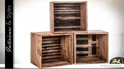 Caisses étagères modulables avec motifs noirs  (lot de 3)