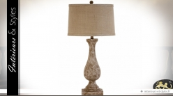 Lampe de salon pied en balustre et abat-jour cylindrique 79 cm