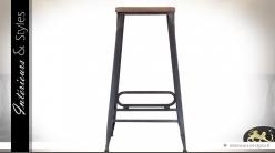 Tabouret de bar vintage en bois et métal 72 cm