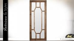 Grand miroir Art Déco finition rustique lasuré 180 cm