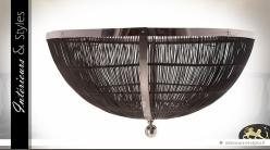 Immense plafonnier design en rotin et métal chromé Ø 160 cm