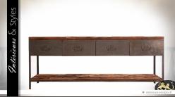 Grande console de style indus et rustique en bois et métal 182 cm