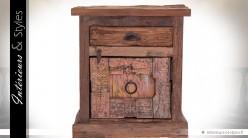 Table de chevet en bois recyclé ancien style rustique