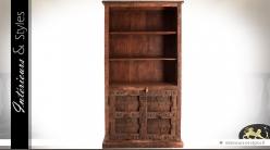 Bibliothèque en bois massif ancien recyclé modèle unique 200 cm