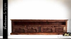 Grand meuble TV rustique en bois recyclé avec 4 portes 219 cm