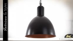 Grande suspension de style industriel noir et cuivre Ø 40 cm
