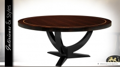 Luxueuse table ronde acajou finition eucalyptus fumé brillant Ø 180 cm