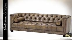 Canapé 3 places Cuir Buffalo capitonné teinte olive clair