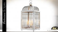 Suspension chromée design cage à oiseaux nickel argenté 81 cm