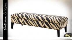 Bout de lit en bois de bouleau habillage tissu à zébrures
