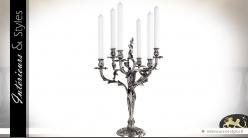 Grand chandelier Renaissance plaqué argent à six feux