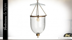 Suspension vintage en verre et laiton à forme cintrée 89 cm