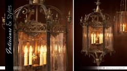 Lanterne suspendue en laiton doré style Renaissance 120 cm