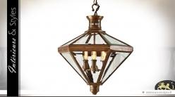 Suspension en lanterne losangique en laiton cuivré 63 cm