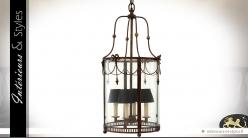 Lanterne cylindrique suspendue style Empire en laiton vieilli 80 cm