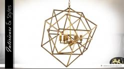 Suspension design cubes concentriques dorés en 3D 78 cm