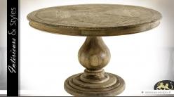 Grande table ronde monopode chêne et marqueterie Ø 130 cm