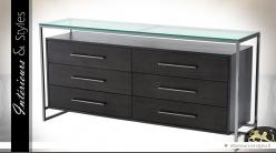 Commode design à 6 tiroirs avec plateau en verre trempé