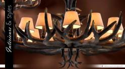 Lustre rustique bois de certs à 12 points de lumière Ø 150 cm