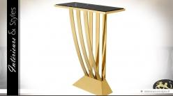 Console design dorée en inox poli et marbre noir 92,5 cm