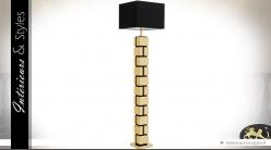 Lampadaire design en forme de colonne noir et or 175 cm