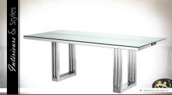 Table en acier inoxydable chromé et verre trempé 210 cm