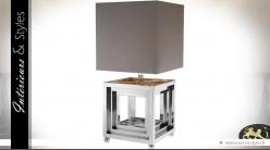 Lampe design carrée nickel argenté brillant et abat-jour gris souris