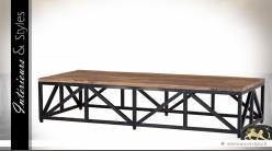 Table basse industrielle bois vieilli et métal finition zinc ancien