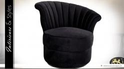 Fauteuil rond de style rétro en tissu noir (modèle droit)