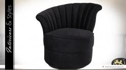 Fauteuil rond de style rétro en tissu noir (modèle gauche)
