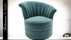 Fauteuil rond de style rétro en tissu turquoise (modèle droit)