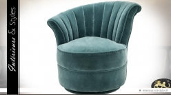 Fauteuil rond de style rétro en tissu turquoise (modèle gauche)