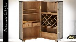 Buffet cave à vin en forme de grande malle rétro 122 cm