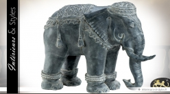 Grande statuette d'éléphant en métal finition zinc vielli 90 cm