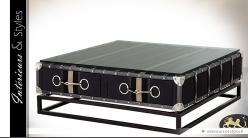 Table basse métal, toile et verre trempé avec 2 tiroirs