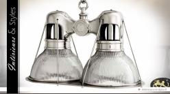 Suspension industrielle nickel argenté double optique à cannelures