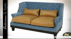 Canapé de style rétro bleu horizon et cuir havane