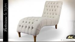 Chaise longue galbée en tissu capitonné 160 cm