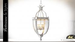 Grande suspension lanterne argentée en ogive 98 cm