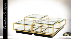 Table basse design noir et or modulable