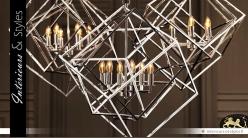 Suspension design cubes concentriques argentés en 3D 78 cm