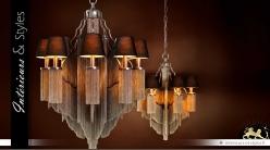 Lustre original en métal à décors de chaînettes 8 lumières Ø 75 cm